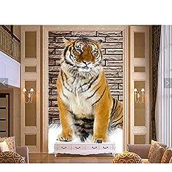 Mur Fresque Papier Peint 3D Stéréo Tigre Photo Vase Salon Allée Décoration Murale Peinture Papier Peint Pour Murs Tissu De Soie (W)400x(H)280cm