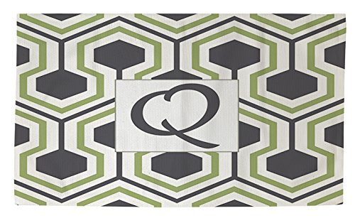 Manual Woodworkers & Weavers dobby Bath Rug, 4by 6-feet, Monogrammed Letter Q, Grey Honeycomb