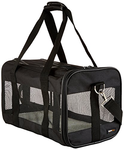 AmazonBasics Medium Soft-Sided Mesh Pet Airline Travel Carrier Bag - 16.5 x 9.5 x 10 Inches, Black