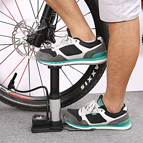 Birud® Aluminum Alloy Portable Floor Foot Activated Bicycle Air Pump 230 PSI