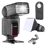 Neewer TT560 flash Speedlite Kit para Canon Nikon Panasonic Pentax Sony y Otros DSLR cámaras con Zapata Caliente Estándar, incluye: (1)TT560 Flash + (1)Mando Remoto + (1)Universal plegable Difusor de flash + (1)Soporte para tapa del objetivo