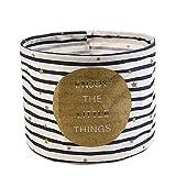 Fablcrew scatola rotonda lino scrivania portapenne gioielli cosmetici cancelleria organizer case, Cotone lino, Stripe, 19x19x15cm