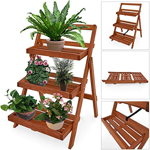 DEUBA Blumentreppe Blumenregal Blumenleiter Holz Regal | 79 x 59 x 56cm | FSC-zertifiziertes Akazienholz | Pflanzregal