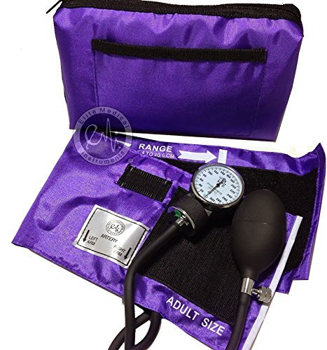 EMI PURPLE Deluxe Aneroid Sphygmomanometer Blood Pressure Monitor Set with Adult Cuff and Carrying Case #217