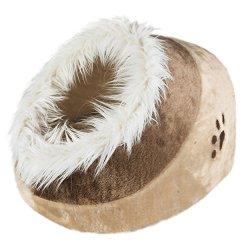 katzeninfo24.de Trixie Pet Products Minou Kuschelhöhle, Minou Katzenhöhle mit weichen Seiten, Medium, beige/braun