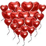 ❤20 Ballon Hélium Coeur Rouge Clinquant avec des Cordes Romantique Amour Décoration Soirée Mariage, La Saint-Valentin - 45CM et 25CM