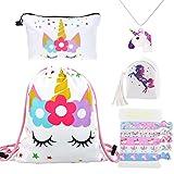 DRESHOW 5 Paquete Lindo Unicornio Mochila con cordón/Maquillaje/PU Monedero Bolsos de embrague/Collar de cadena de aleación/Unicornios para el cabello para niñas