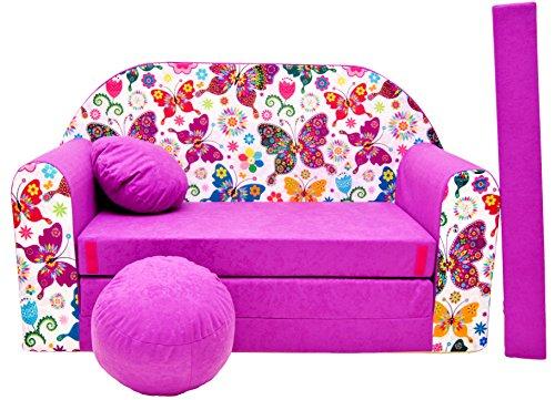 PRO COSMO - Divano Letto M33per Bambini, con Pouf/poggiapiedi/Cuscino, in Tessuto Colore Viola Scuro, 168x 98x 60cm
