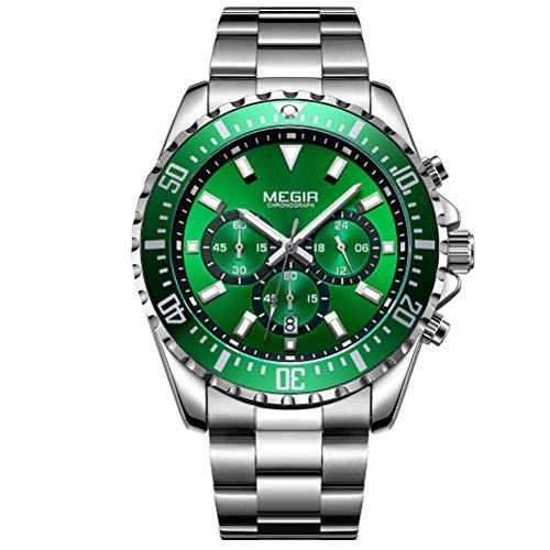 Megir Orologio da Uomo lusso acciaio inox argento quarzo grandi quadrante verde acqua con cronografo...