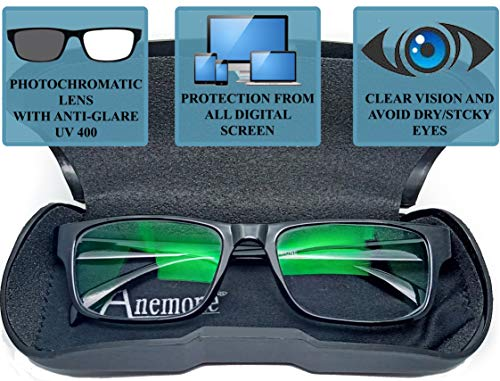 Anemone® Premium Anti-glare Photochromatic Zero power sunglasses for Protection from Computer Digital Screens Tv Mobile Laptop and Day Night with rectangle frame Eye Glasses Spectacle Eye frame with UV 400 protection (unisex)