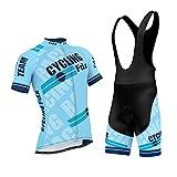 FDX Mens Pro Cycling Jersey Half Sleeve Bike Team Racing Top + 3D Gel Padded Bib shorts set (Sky Blue, Large)