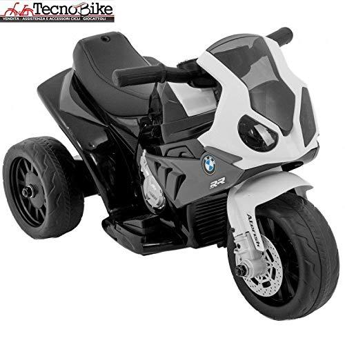 Moto Motocicletta Elettrica per Bambini BMW S 1000 RR Batteria 6V Ricaricabile Triciclo 3 Ruote Fari...