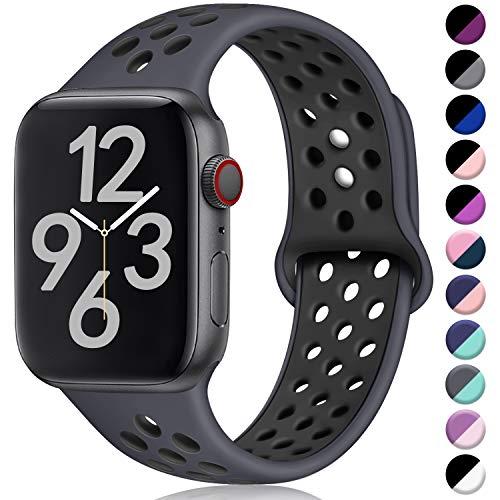 Hamile Correa para Apple Watch 38mm 40mm, Doble Color Pulsera de Repuesto de Silicona Suave Transpirable Correa para Apple Watch Series 4/3/2/1, S/M Carbón/Negro