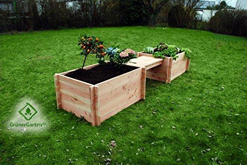 GrünerGarten Grönplats Hochbeet mit Sitzbank