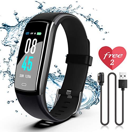 JAZIPO Fitness Armband mit Pulsmesser Blutdruckmesser, Wasserdicht IP67 Fitness Tracker, Smartwatch GPS Aktivitätstracker, Vibrationsalarm Anruf/SMS, für Damen Männer