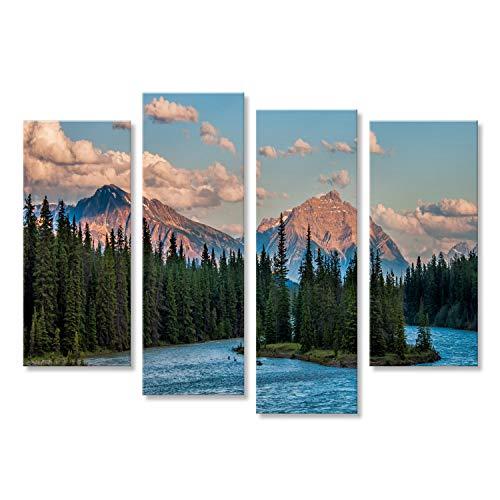 Quadro moderno Foto delle montagne e delle foreste dietro il fiume di Athabasca nel parco nazionale di Jasper Stampa su tela - Quadri moderni x poltrone salotto cucina mobili ufficio casa ! FMA