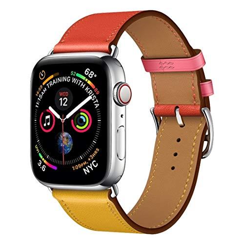 Leather Watch Strap Pelle Colore Due Loop Singolo Cinturino da Polso Cinturino for Apple Osservare Serie 3 & 2 & 1 42 mm, Colore: Ambra + Arancione Rosso + Light Rose Red syt