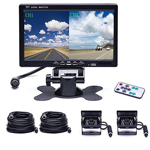 Doppio sistema di telecamera posteriore Camecho Impermeabile Night Vision fotocamera di backup anteriore + 7 '' 4-Split Monitor + 33ft cavo 12V 24V per auto rimorchio camper bus