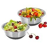 Kosma Set di 2 ciotole per insalata in acciaio inox con base in silicone antiscivolo | Ciotola da portata 26cm (4 Litri)