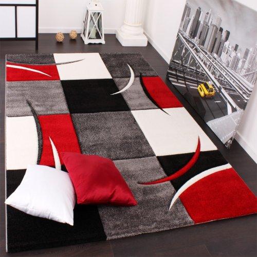 Tappeto Di Design Orlo Modello A Quadri Nei Colori Bianco Rosso Grigio Nero, Dimensione:80x150 cm