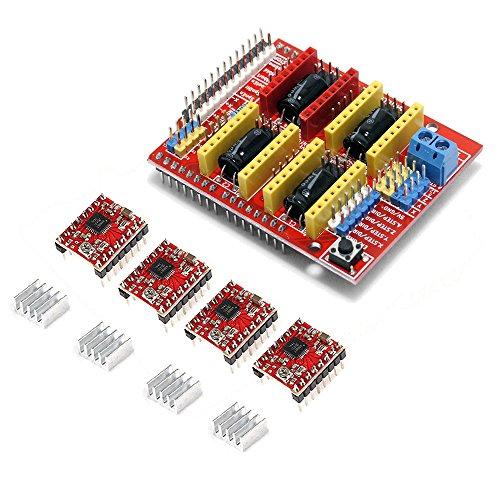 CNC Consiglio Shield:  Grbl 0.9 compatibile.  perni PWM mandrino e di direzione  4 assi di supporto (X, Y, Z, A-Can duplicare X, Y, Z o fare un 4 ° asse completo con custom firmware con perni D12 e D13)  2 x di fine corsa per ogni asse (6 in ...