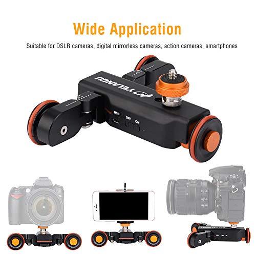 elegantstunning YELANGU Electric Auto Dolly Video Car Motorized Track Slider Skater for Camera (Orange Black)