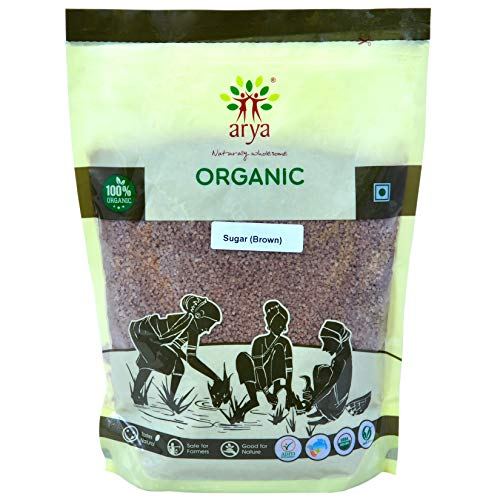 Arya Farm Certified Organic Sugar ( Brown ) , 1 Kg ( Without Chemicals , Pesticides and Preservatives )