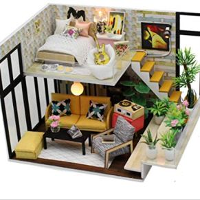 tytlmodel Muebles De Casa De Muñecas DIY, Accesorios De Casa De Muñecas En Miniatura De Madera con Luz Led, Kit De Montaje Educativo Juguetes para Niños/Adultos para Niños Regalos De Cumpleaños
