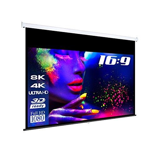 "eSmart Germany MIROLO Rollo-Leinwand [Größenauswahl] 332 x 187 cm (150"") 16:9 | Vollmaskierung | Heimkino Beamer Projektionsleinwand Rollo Leinwand LCD LED"