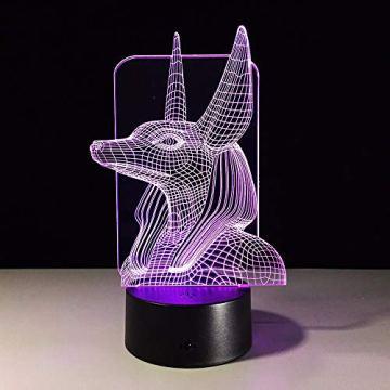 Xzfddn 7 Colores Cambian Egipto, Ilusión 3D, Cambio De Color, Luz De Escritorio Con Toque Negro, Decoración De Base, Luz Nocturna 7