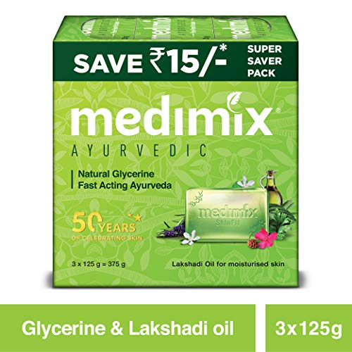 Medimix Ayurvedic Natural Glycerine Bathing Bar, 125 g (Pack of 3)
