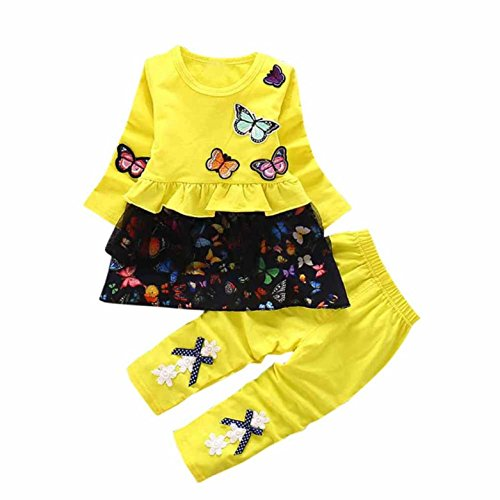 Conjuntos de bebé, Internet Mariposas Patten Lindo 2Pcs Camiseta + Pantalones De Bowknot (12-18M, Amarillo)