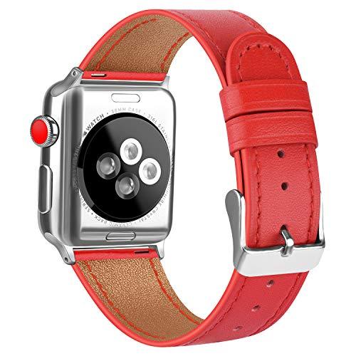AK Cinturino Compatibile con Apple Watch 38 mm 42 mm 44 mm 40 mm Cinturino di Ricambio Fibbia in Vera Pelle per iWatch Serie 5 Serie 4 Serie 3 Serie 2 Serie 1 (38mm/40mm, 05 Rosso)