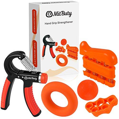 MitButy Hand Grips - Kit de 5 Fortalecedores de Manos: Hand GripAjustable (10 a 40 kg), Ejercitador de Dedos, Anillo de Fuerza, Banda de Dedos y Pelota Antiestrés para Artritis, Escalada, Guitarra