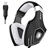 [2016 recentemente aggiornato Gaming Headset USB] Sades A60 / OMG Computer sopra l'orecchio cuffie stereo con microfono con isolamento acustico Controllo volume LED per PC e MAC (nero + bianco)
