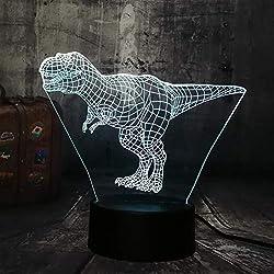 KAIYED Luz Nocturna Cool Tyrannosaurus Rex Jurassic World Dinosaur Animal 3D Lámpara de Escritorio RGB Night Light USB Home Kids Navidad Regalo