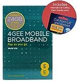 Love2surf EE 4G 24GB UK PAYG Trio Data SIM - Mobile Broadband -24GB + International Calling Card RETAIL PACK