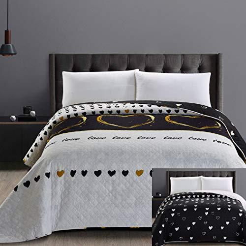 DecoKing 32534 Tagesdecke 200x220 cm Mikrofaser Bettüberwurf Steppung zweiseitig pflegeleicht schwarz weiß golden Herzen Love