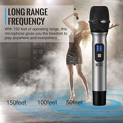 """TONOR Microphone sans Fil 25 Canaux UHF, avec Mini Récepteur Portable Sortie 1/4"""", pour Réunion d'Affaire/Maison/Karaoké/Église, Argent 5"""