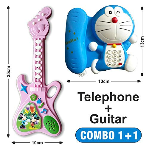 Naksh Toys & Gift Musical Telephone and Guitar Toy for Kids Multicolor/Small Size (Pack of 2)