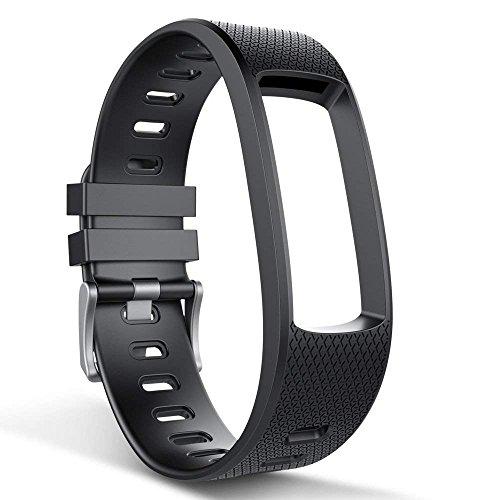 endubro Cinturino per Fitness Tracker i3HR & i7HR | i6HR | i6HR C & Molti Altri Modelli Realizzato in TPU Skin-Friendly con Chiusura antiallergica (Nero)