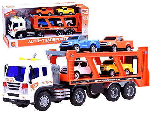 METRO TOY'S & GIFT Truck and Car Transporter with 4 Cars
