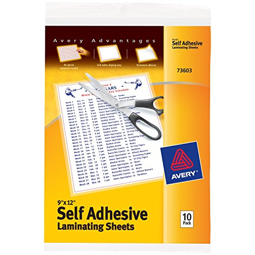 Avery Self-Adhesive Laminating Sheets, 9-inch x 12-inch, Pack of 10 (73603)