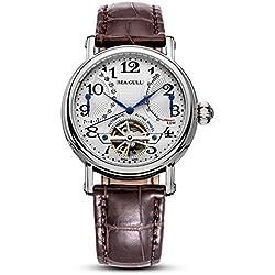 Tempo libero meccanico automatico orologio da polso impermeabile in vera pelle con Roma Digital Business per varie occasioni M172S.Br