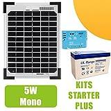 Solarmodul-Set mono, 5W, 12V, mit Regler, 5A und Akku