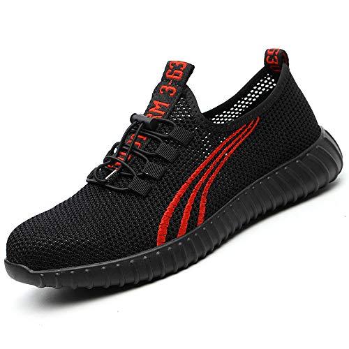 SUADEEX Herren Damen Arbeitsschuhe Stahlkappe Sicherheitsschuhe Atmungsaktiv Leicht Sportlich Trekking Wanderhalbschuhe Mesh Schutzschuhe Hiking Schuhe, Rot, 37 EU