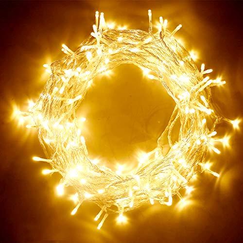 IDESION Stringa di luci 200LED 20M,8 Modalità,Stringa Luci LED Luminose,per Uso Interno ed Esterno Decorazioni Feste Alberi di Natale Matrimonio Bianco Caldo [Classe di efficienza energetica A]