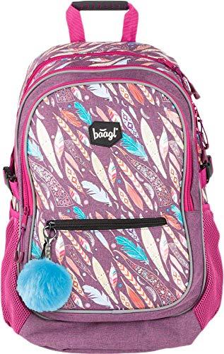 Baagl Kinderrucksack für Mädchen, Schulranzen für Kinder mit ergonomisch geformter Rücken, Brustgurt und reflektierende Elemente (Feathers)