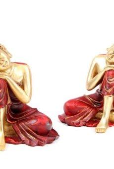 Decorativo Oro y rojo resina figura decorativa de Buda Oriental de adornos de Navidad PDS
