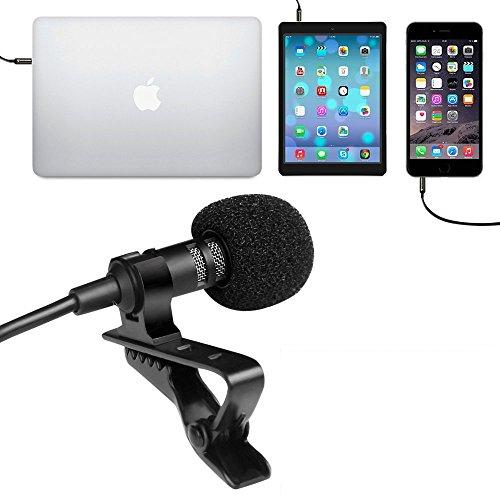 Juarez JRZ900 Professional Premium Deluxe Lavalier Lapel Clip-on Omnidirectional Condenser Microphone For All Smartphone with Case, Black